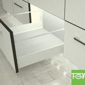 """TEN"" drawer H-90+X mm with 1 pair of railings"