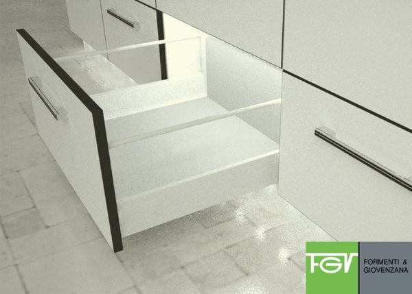 """""""TEN"""" drawer H-90+X mm with 1 pair of railings"""