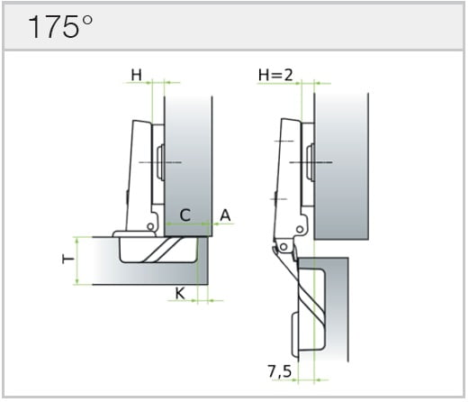"Hinge ""MS Slide-on"" 175°"