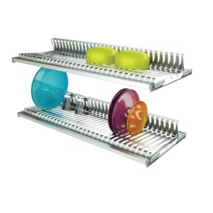 Two shelves dish racks in stainless steel with 2 aluminum frames