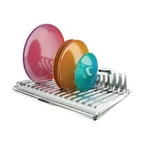 Plate and glass rack in stainless steel for use on the kitchen worktop