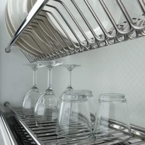 Two shelves dish rack in stainless steel