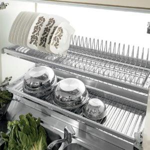 Two shelves dish racks with 2 aluminum frames