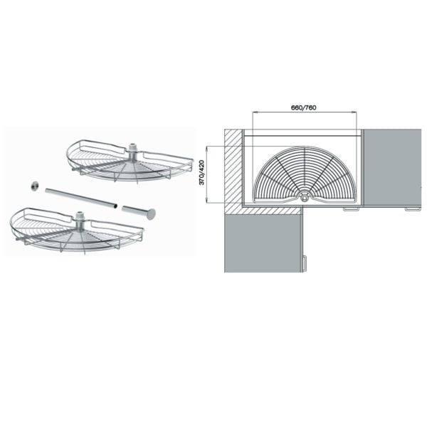 Corner carousel (half) for 800/900 mm cabinets