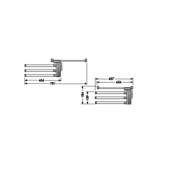 Hailo Secco Towel Rail with 3 bars