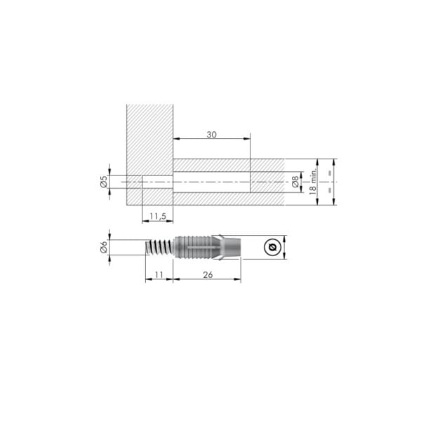 PAD - Permanent Assembly Dowel with engineering plastic sleeve conceived for minimum thickness 18mm 3