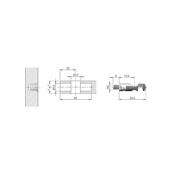 TARGET J12 connecting fitting screw, M6 4